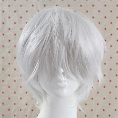 Women Synthetic Wig Short White Men's wig Cosplay Wigs Costume Wig