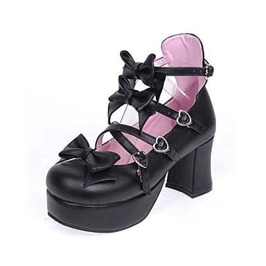 Schoenen Schattig Klassiek en Tradtioneel Lolita Lolita Hoge Hak Schoenen Strik 7.5 CM Wit Zwart Roze Voor PU-leer/Polyurethaan Leer