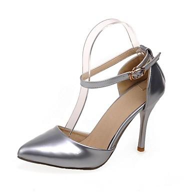 Femme Chaussures Cuir Verni Printemps Eté Automne Hiver Talon Aiguille Pour Habillé Noir Rouge Argenté