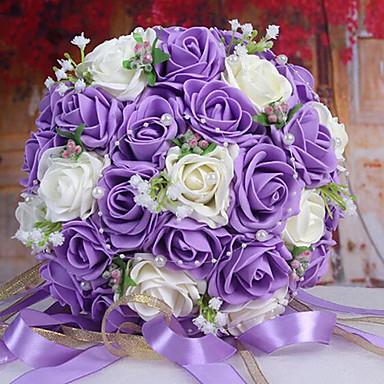 een boeket van 30 pe simulatie rozen bruiloft boeket bruiloft bruid bedrijf bloemen, paars en wit