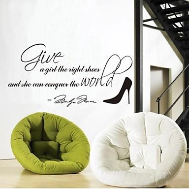 벽 스티커 벽 데칼은 오른쪽 신발을 소녀에게 영어 단어를 제공&PVC 벽 스티커를 인용