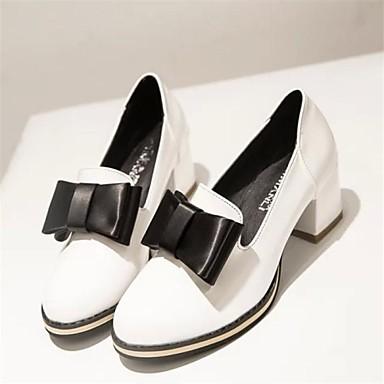 옥스퍼드 - 드레스 - 여성의 신발 - 둥근 앞코 - 레더렛 - 청키 굽 - 블랙 / 레드 / 화이트