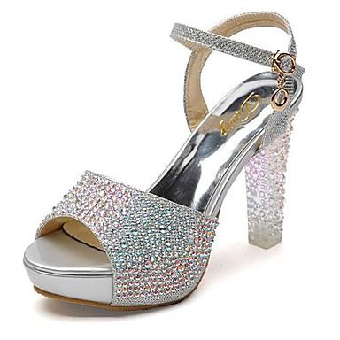 Γυναικεία παπούτσια - Πέδιλα - Φόρεμα / Πάρτι & Βραδινή Έξοδος - Χοντρό Τακούνι - Peep Toe - Γκλίτερ - Μπλε / Ασημί / Χρυσό