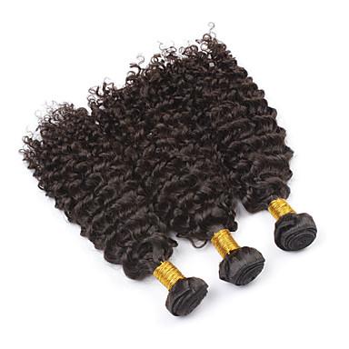 baratos Extensões de Cabelo Natural-PANSY Trama Extensões de cabelo humano Encaracolado Kinky Curly Cabelo Humano Cabelo Brasileiro 18 polegada Mulheres Preto Natural / 8A / Crespo Cacheado