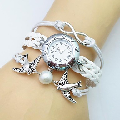 Women's Bracelet Watch Fashion Watch Quartz Casual Watch Leather Band Bohemian Pearls White