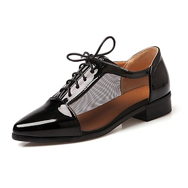 Women's Shoes Patent Leather Spring / Fall Chunky Heel / Block Heel Zipper / Lace-up Black / White
