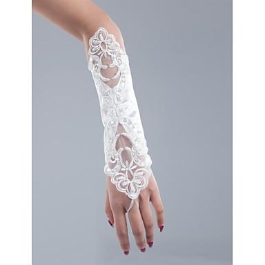 Baumwolle Netz Handgelenk-Länge Opernlänge Handschuh Charme Stilvoll Brauthandschuhe Party / Abendhandschuhe With Stickerei Einfarbig