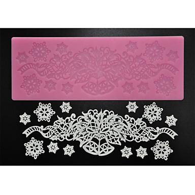 Vier c Zucker Bastelbedarf Silikon Spitzen-Pad Dekorations Matte zum Backen, Silikonmatte Fondantkuchen Werkzeuge Farbe Rosa