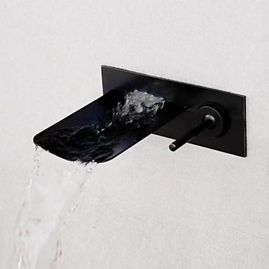 Moderne Vægmonteret Foss Keramisk Ventil Et Hull Enkelt Håndtak Et Hull Nikkel Børstet, Baderom Sink Tappekran