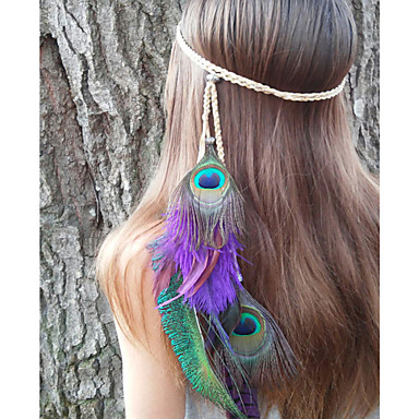 Peacock Feather Headband, Native American, Braided Headband, Indian Headband, Peacock Headdress, Heather Hairband