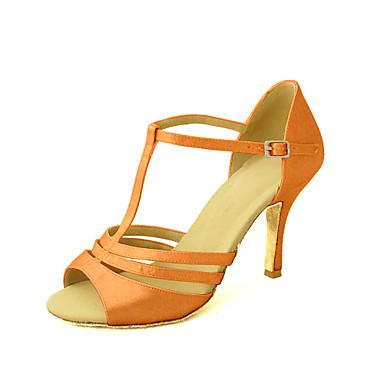 baratos Sapatos de Salsa-Mulheres Sapatos de Dança Cetim Sapatos de Dança Latina / Sapatos de Salsa Presilha Sandália Salto Personalizado Personalizável Amarelo / Fúcsia / Púrpura / Couro
