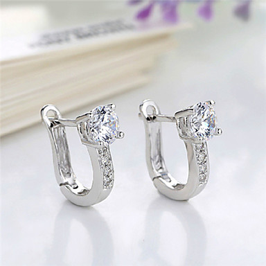 Women's Hoop Earrings Party Casual Birthstones Diamond Silver Plated Jewelry Party Costume Jewelry