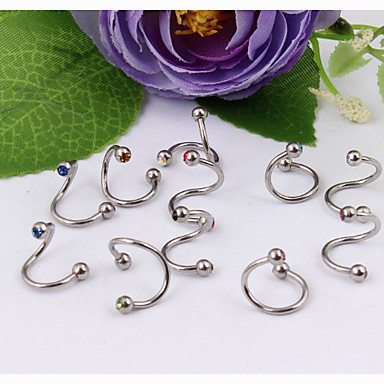 Others / Lips Crystal / Stainless Steel Eyebrow Jewelry / Labret / Lip Piercings / Lip Ring / Ear Piercing - Women's Unique Design /