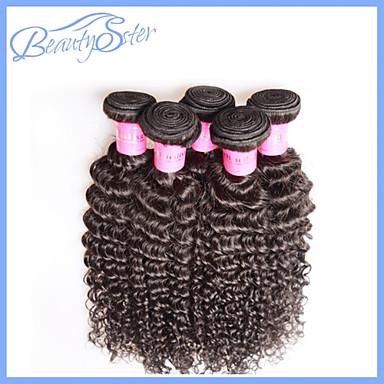 voordelige Weaves van echt haar-4 stuks veel 6a brazilian maagd haar kinky krullend onbewerkt human hair extensions natuurlijke zwart haar weeft