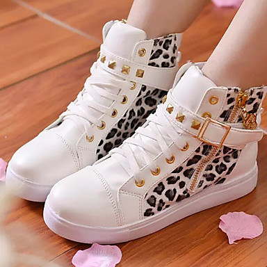 Women's Shoes Patent Leather Spring Fall Comfort Flat Heel Rivet Animal Print Zipper Lace-up for Casual Outdoor Black White