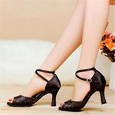 Női Latin cipők Szatén Szandál Csat Vaskosabb sarok Szabványos méret Dance Shoes Fekete / Barna / Kék / Bőr