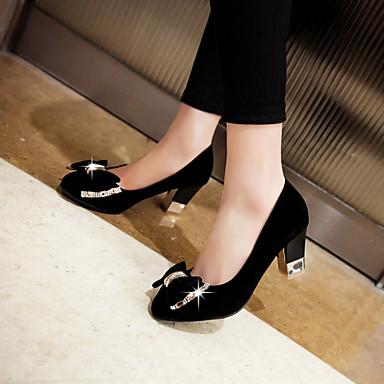 여성용 구두 레더렛 봄 여름 청키 굽 드레스 용 리본장식 블랙 핑크 블루