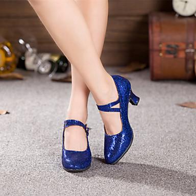 baratos Shall We® Sapatos de Dança-Mulheres Sapatos de Dança Paetês / Courino Sapatos de Dança Moderna Presilha Salto Salto Cubano Não Personalizável Preto / Vermelho / Azul / EU36