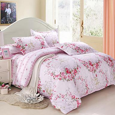 Duvet Cover Sets Floral 4 Piece Faux Silk Cotton Jacquard Faux Silk Cotton 1pc Duvet Cover 2pcs Shams 1pc Flat Sheet