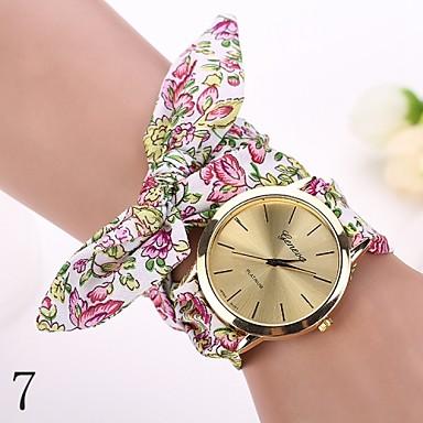 Damen Quartz Armbanduhr Armband-Uhr Armbanduhren für den Alltag Stoff Band Blume Modisch Weiß Rot