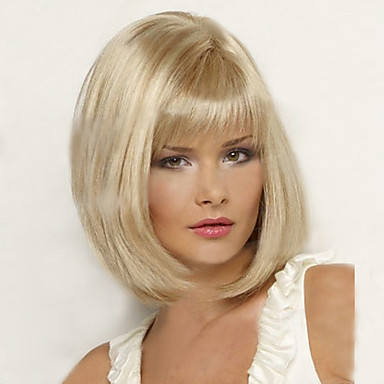 Kobieta Peruki syntetyczne Krótki Light Blonde Fryzura Bob Costume Peruki