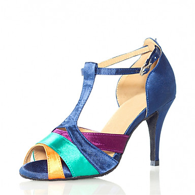 Kadın's Latin Dans Ayakkabıları Saten Sandaletler Toka Stiletto Topuk Kişiselletirilmemiş Dans Ayakkabıları Mavi / Deri