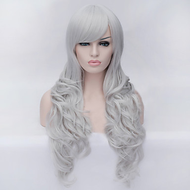 The New Cartoon Color Wig Silver Inclined Bang Curly Hair Wig