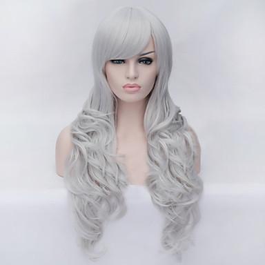 Cheveux Synthétiques Perruques Ondulation naturelle Avec Frange Sans bonnet Perruque de Cosplay Blanc