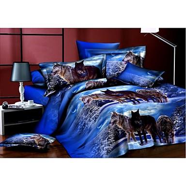 Bedtoppings Comforter Duvet Quilt Cover 4pcs Set Queen Size Flat Sheet Pillowcase 3D Random Pattern Prints Microfiber Fabric