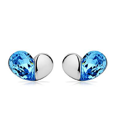עגילים צמודים אהבה סגנון חמוד אבן נוצצת ציפוי זהב זהב 18K Heart Shape כחול תכשיטים ל 2pcs