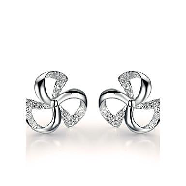 Damen Blattform Sterling Silber Ohrstecker - Glücks Motiv Farbbildschirm Ohrringe Für