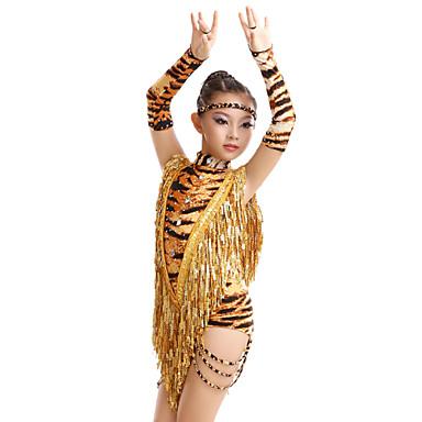 라틴 댄스 드레스 여성용 아동용 성능 훈련 우유 섬유 애니멀 프린트 4 개 드레스 글러브 헤어 밴드