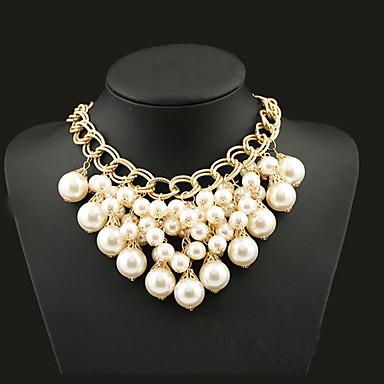 levne Dámské šperky-Dámské Prohlášení Náhrdelníky Prohlášení Střapec Evropský Módní Perly Slitina Barva obrazovky Náhrdelníky Šperky Pro Párty Zvláštní příležitosti Narozeniny Dar
