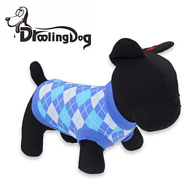 Кошка Собака Футболка Одежда для собак В клетку Красный Синий Хлопок Костюм Для домашних животных