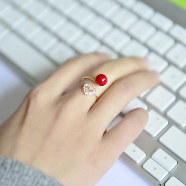 Классические кольца Акрил Стразы Сплав В форме сердца Регулируется Бижутерия Свадьба Для вечеринок Повседневные Спорт 1шт