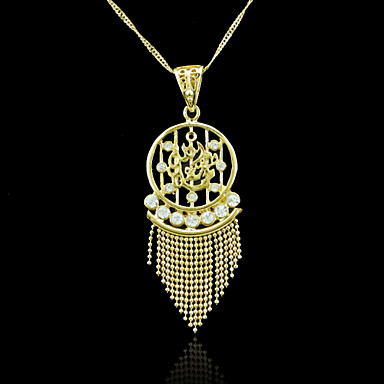 18K Real Gold Plated Allah Muslim Tassel Zircon Pendant Necklace