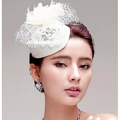 Kadın Tüy Yapay Elmas Kumaş Net Başlık-Düğün Özel Anlar Dış Mekan Çiçekler Şapkalar 1 Parça