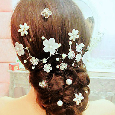 Imitation Pearl Alloy Flowers Hair Pin Head Chain 1 Wedding Special Occasion Casual Headpiece