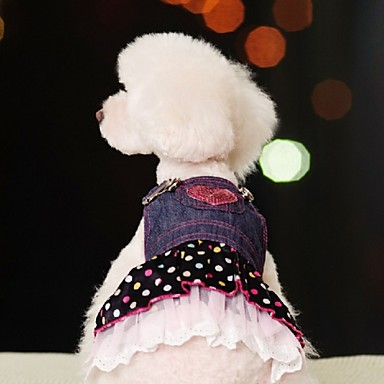 Hund Kjoler Hundeklær Polkadotter Jeans Blå Bomull Kostume For kjæledyr Dame Cosplay