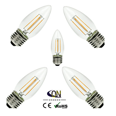 ONDENN 5pcs 2800-3200 lm E26/E27 Izzószálas LED lámpák C35 4 led COB Tompítható Meleg fehér AC 110-130V AC 220-240V