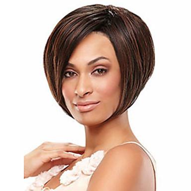 Syntetiske parykker Dame Rett Brun Syntetisk hår 4 tommers Brun Parykk Kort Mørkebrun