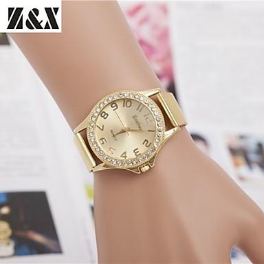 Damen Quartz Armbanduhr Schlussverkauf Legierung Band Charme Kleideruhr Modisch Gold
