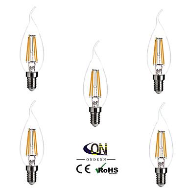 ONDENN 5pcs 2800-3200 lm E14 LED Filaman Ampuller CA35 4 led COB Kısılabilir Sıcak Beyaz AC 220-240V