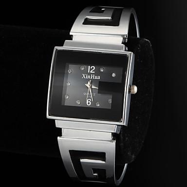Damen Quartz Armband-Uhr Armbanduhren für den Alltag Legierung Band Modisch Armreif Silber