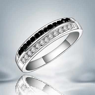Damen Bandring Schwarz/weiss Sterling Silber Kubikzirkonia Diamantimitate Schmuck mit Aussage Modisch Party Modeschmuck