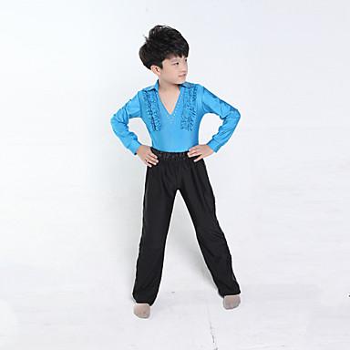 Taniec latynoamerykański Outfits Dla dzieci Szkolenie Wydajność Poliester Długi rękaw Naturalny Top Spodnie