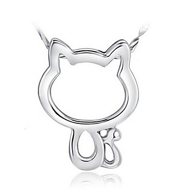 Women's Pendant Necklace - Sterling Silver, Silver Cat