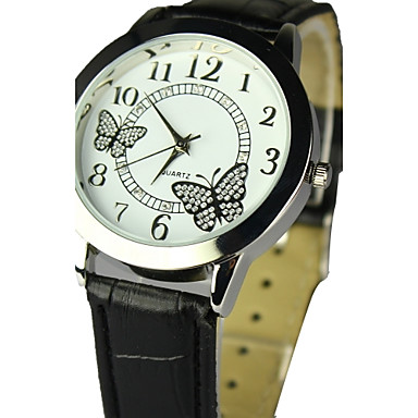 Dames Dress horloge Modieus horloge Polshorloge Kwarts Leer Band Zwart Wit Zwart Roos Blauw Roze