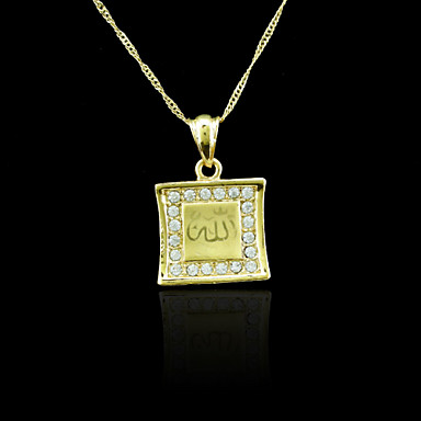 18K Real Gold Plated Allah Muslim Zircon Pendant 2.3*3.4CM