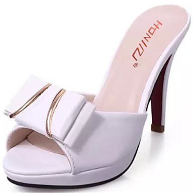 Женская обувь Дерматин На шпильке С открытым носком Тапочки Для праздника Черный/Белый